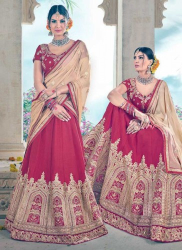 Ravishing Red Art Silk Embroidery Work Lehenga Choli