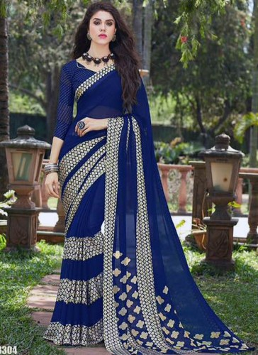 Affluent Blue Georgette Casual Designer Saree