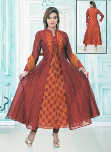 Tantalizing Rust Chanderi Embroidery Work Anarkali Suit