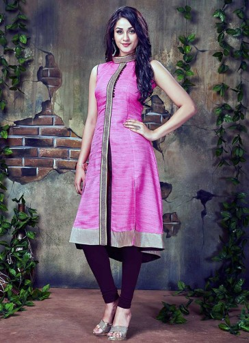 Mesmerizing Pink Silk Party Wear Designer Kurti