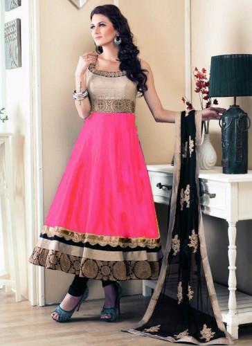 Paramount Pink Banglori Satin Designer Anarkali Suit