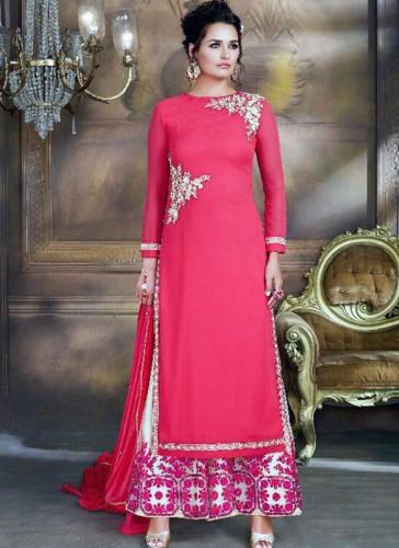 Celestial Pink Georgette Plazo Churidar Suit