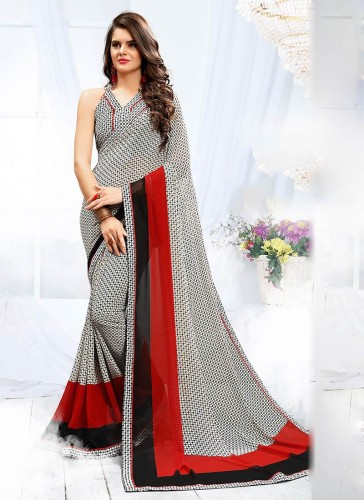 Ravishing Gray Georgette Printed Work Designer Saree
