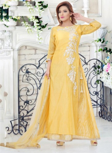 Gleaming Yellow Chanderi Embroidery Work Anarkali Suit