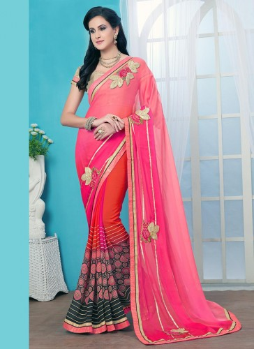 Graceful Pink Georgette Patch Work Designer Saree