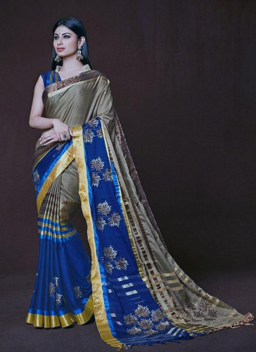 Amazing Navy Blue And Beige Cotton Silk Designer Saree
