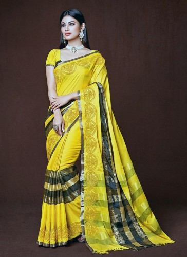 Engaging Yellow Cotton Silk Embroidery Designer Saree