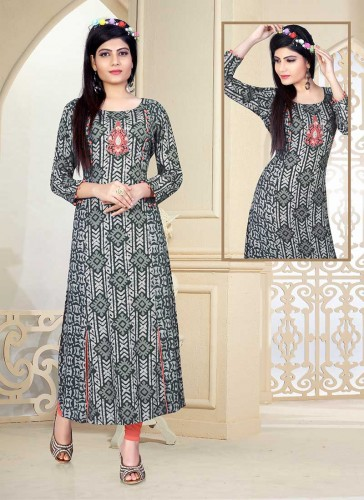 Dazzling Gray Cotton Printed Work Designer Kurti