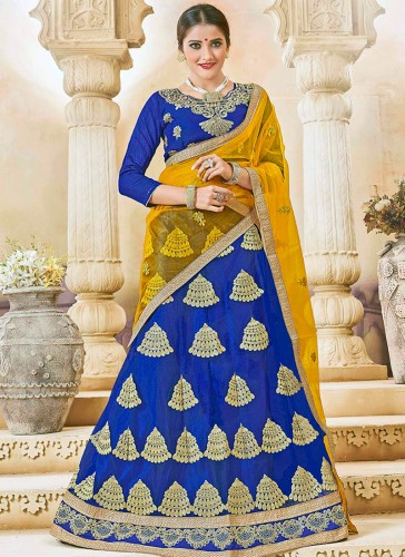 Fantastic Blue Net Embroidery Work Lehenga Choli