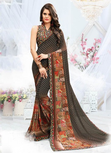 Tantalizing Brown Georgette Printed Work Designer Saree