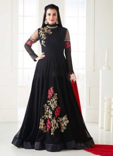 Beautiful Black Georgette Floor Length Designer Anarkali Suit