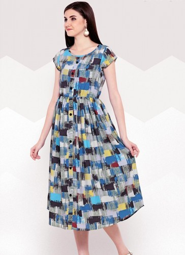 Mesmeric Sky Blue Rayon Party Wear Printed Work Top