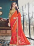 Honorable Orange Satin Embroidery Work Designer Saree