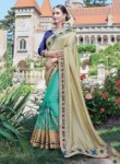 Vibrant Beige Chiffon Party Wear Embroidery Work Saree