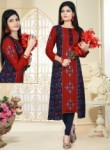 Engaging Red Cotton Party Wear Printed Work Kurti