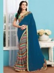 Aspiring Blue Georgette Patch Work Designer Saree