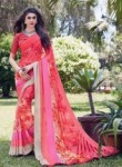 Mesmeric Hot Pink Georgette Designer Saree