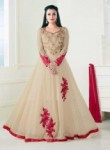 Wonderful Beige Georgette Floor Length Designer Anarkali Suit