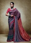 Tantalizing Brown Tussar Silk Party Wear Printed Work Saree