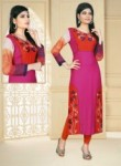 Attactive Red Cotton Printed Work Designer Kurti