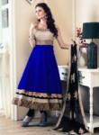 Bedazzling Blue Banglori Satin Designer Anarkali Suit