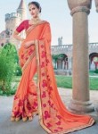 Tantalizing Peach Jacquard Party Wear Embroidery Work Saree