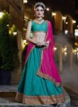 Latest Green Banarasi Silk Embroidery Work Lehenga Choli