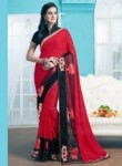 Surpassing Red Georgette Patch Work Designer Saree