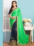 Eye Catchy Sea Green Georgette Patch Work Designer Saree