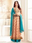 Lovely Peach Net Embroidery Work Anarkali Suit