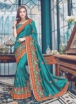 Arresting Rama Satin Embroidery Work Designer Saree