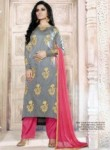 Amazing Grey Tussar Silk Embroidery Work Plazo Salwar Suit