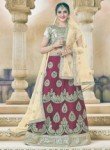 Wonderful Maroon Net Embroidery Work Lehenga Choli