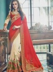 Flowing Red Crepe Embroidery Work Designer Saree