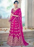 Beautiful Rani Pink Art Silk Embroidery Work Lehenga Choli