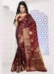 Lovely Brown Banarasi Silk Designer Saree