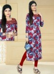 Captivating Red Cotton Printed Work Designer Kurti