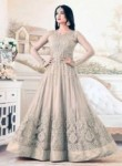 Enthralling Beige Net Embroidery Work Designer Anarkali Suit