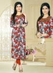 Lovely Gray Cotton Printed Work Designer Kurti