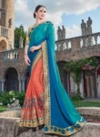 Ravishing Sky Blue Crepe Party Wear Embroidery Work Saree