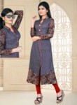 Elegance Purple Cotton Printed Work Designer Kurti