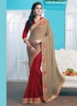 Mesmeric Beige Georgette Patch Work Designer Saree