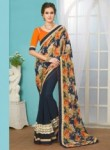 Fantastic Navy Blue Georgette Patch Work Designer Saree