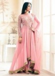 Smashing Pink Georgette Embroidery Work Designer Anarkali Suit