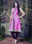 Mesmerizing Pink Silk Party Wear Designer Kurti