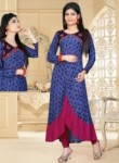 Gleaming Blue Cotton Printed Work Designer Kurti