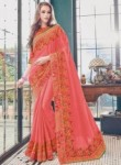 Fantastic Hot Pink Satin Embroidery Work Designer Saree