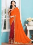 Charming Orange Georgette Patch Work Designer Saree