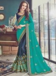 Impressive Green Satin Embroidery Work Designer Saree