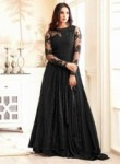 Amazing Black Georgette Embroidery Work Anarkali Suit